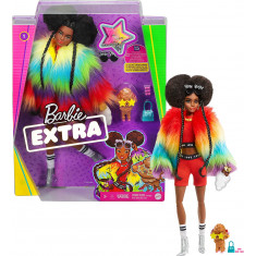 Barbie Extra Doll in Rainbow Coat with Pet Dog