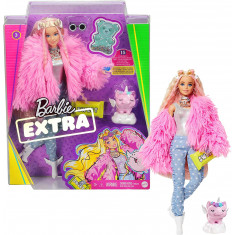 Barbie Extra Doll in Pink Fluffy Coat with Unicorn-Pig