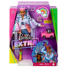 Barbie Extra Doll in Rainbow Braids with Puppy and Car
